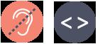 2 ikoner - et halvt overstreget øre - et kode-tag