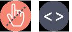 2 ikoner - en halv overstreget musehånd - et kode tag