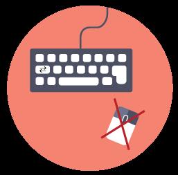 Illustration af tastatur og mus, hvor musen er krydset over
